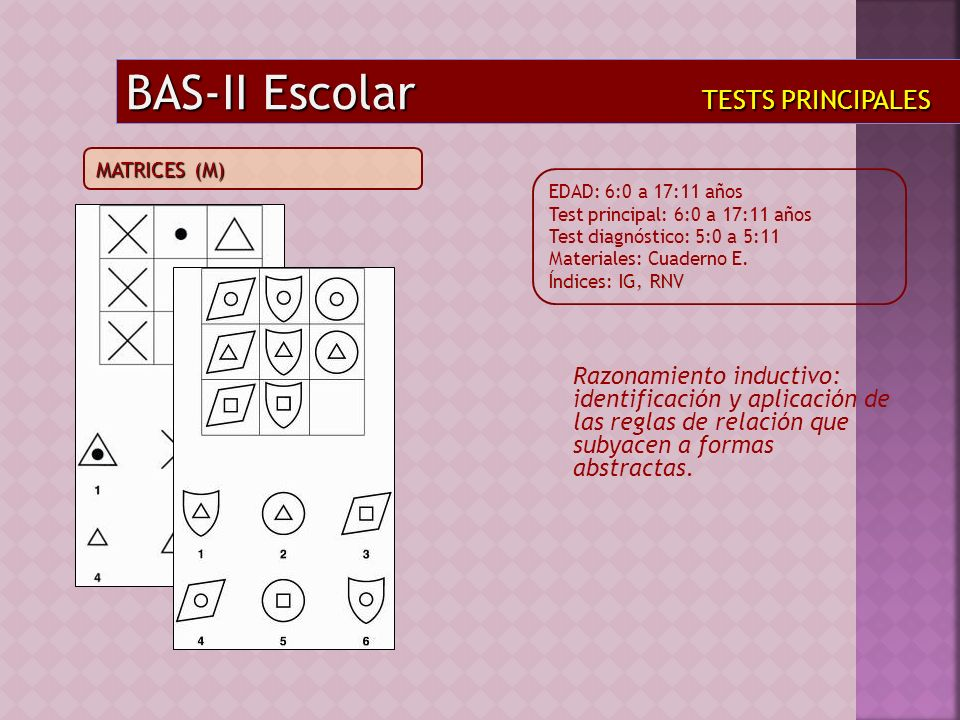 BAS-II Escolar TESTS PRINCIPALES