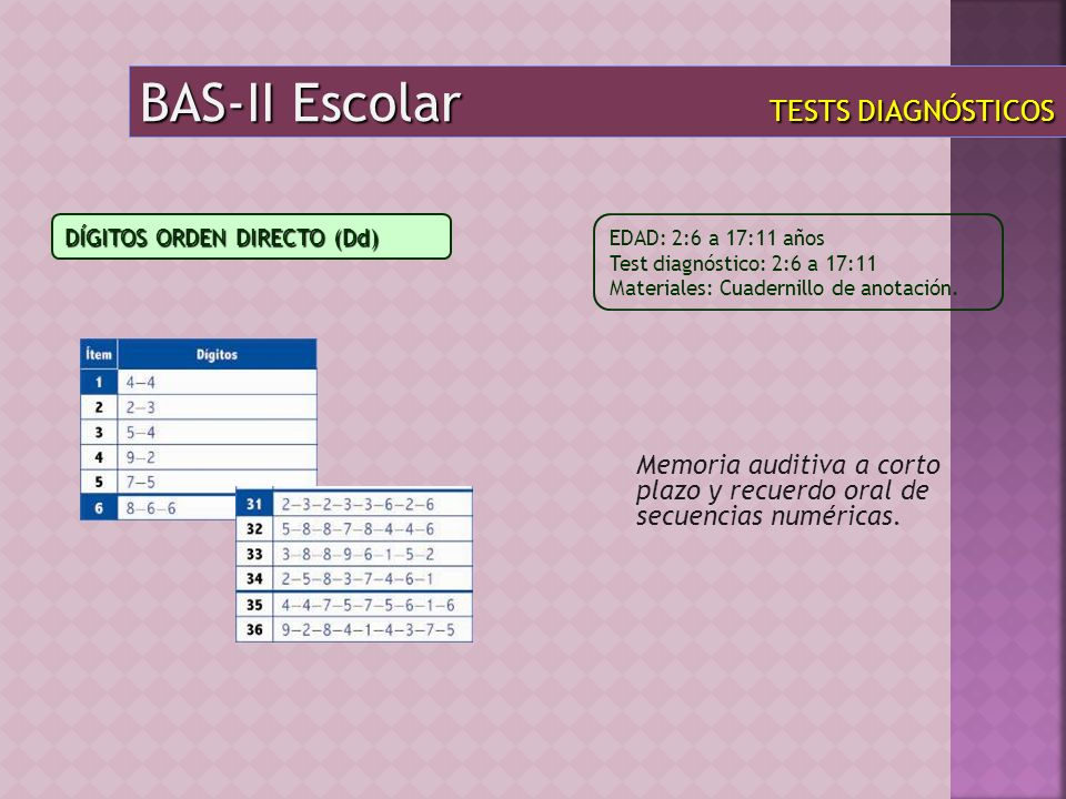 BAS-II Escolar TESTS DIAGNÓSTICOS