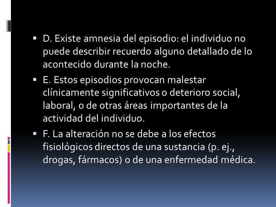 D. Existe amnesia del episodio: el individuo no puede describir recuerdo alguno detallado de lo acontecido durante la noche.