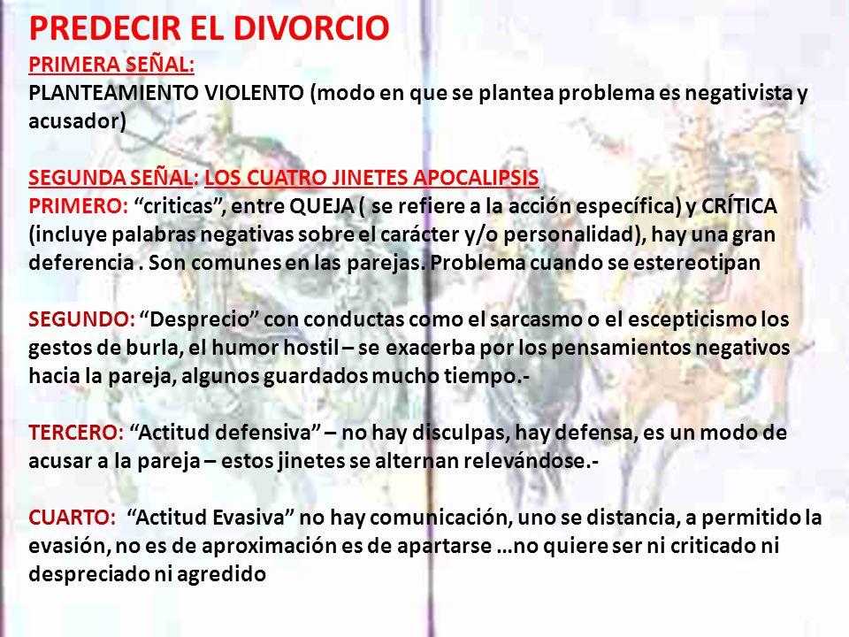 PREDECIR EL DIVORCIO PRIMERA SEÑAL: