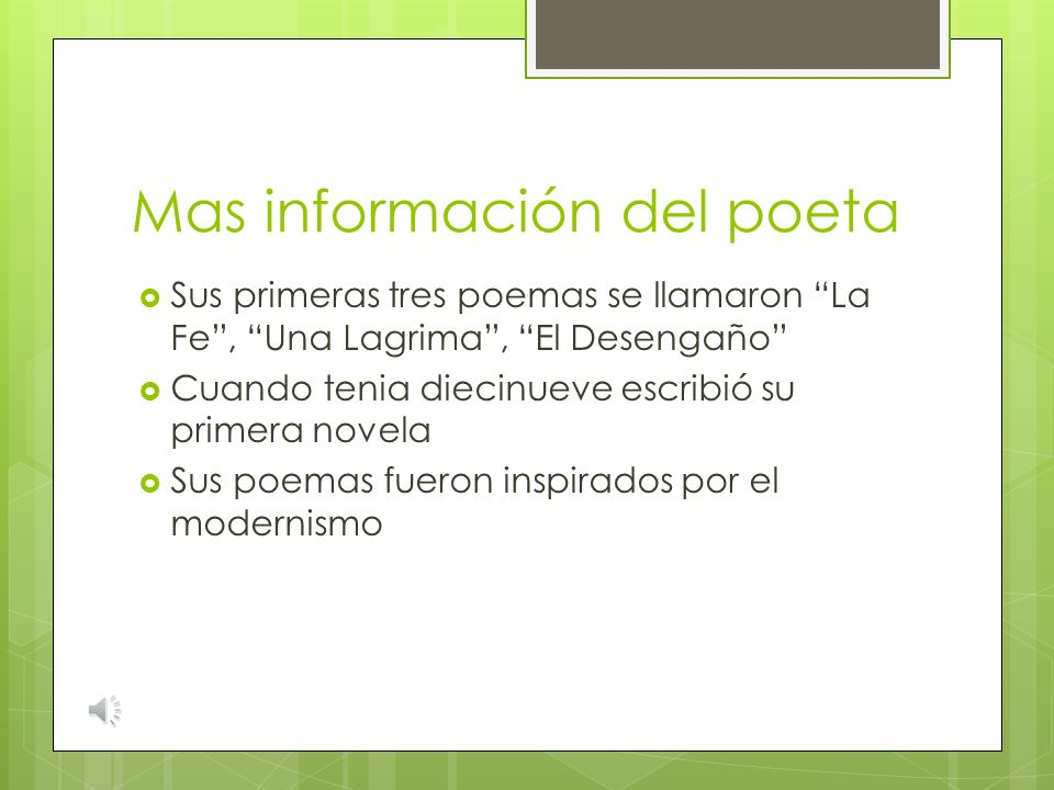 Mas información del poeta