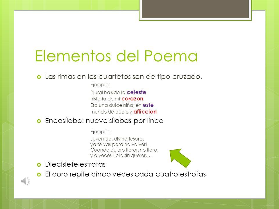 Elementos del Poema Las rimas en los cuartetos son de tipo cruzado.