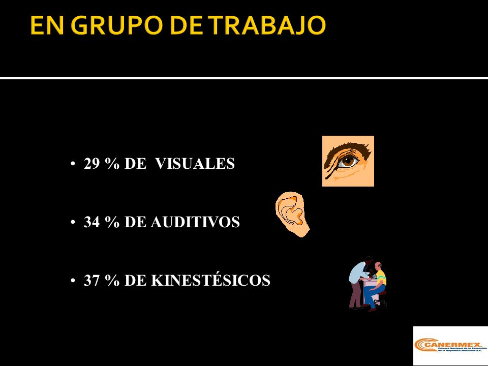 EN GRUPO DE TRABAJO 29 % DE VISUALES 34 % DE AUDITIVOS