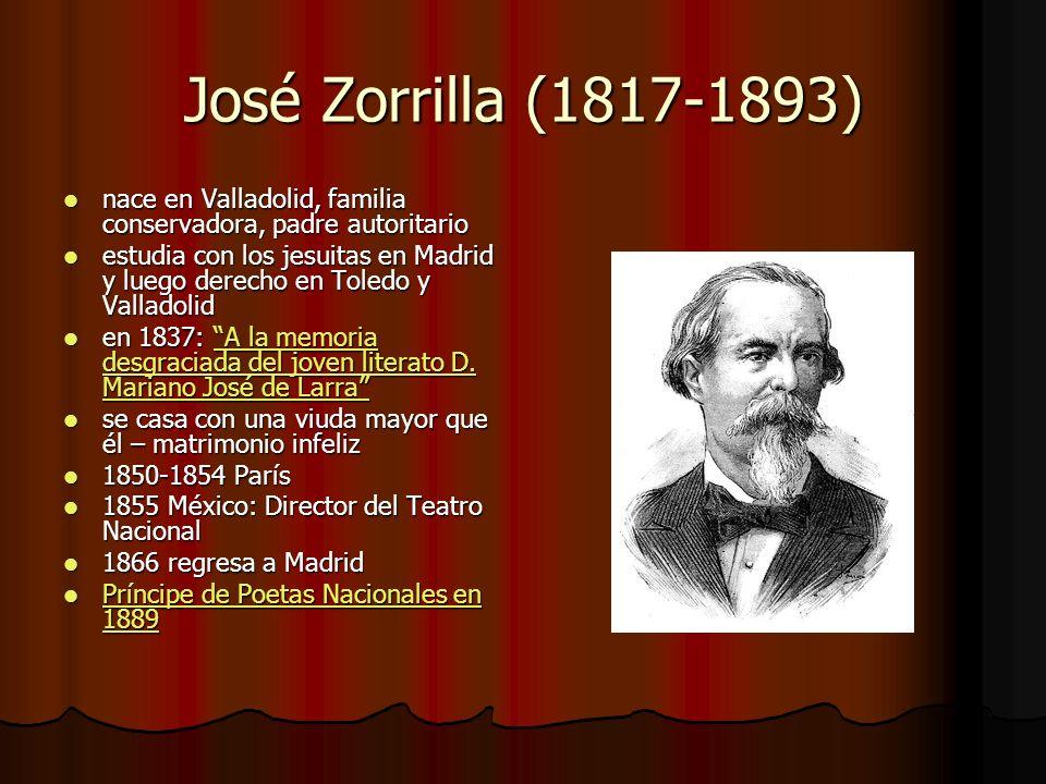 José Zorrilla (1817-1893) nace en Valladolid, familia conservadora, padre autoritario.