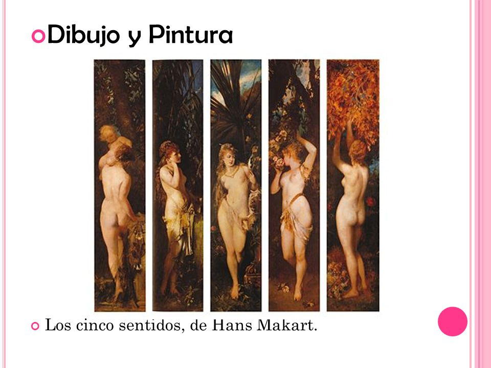 Dibujo y Pintura Los cinco sentidos, de Hans Makart.