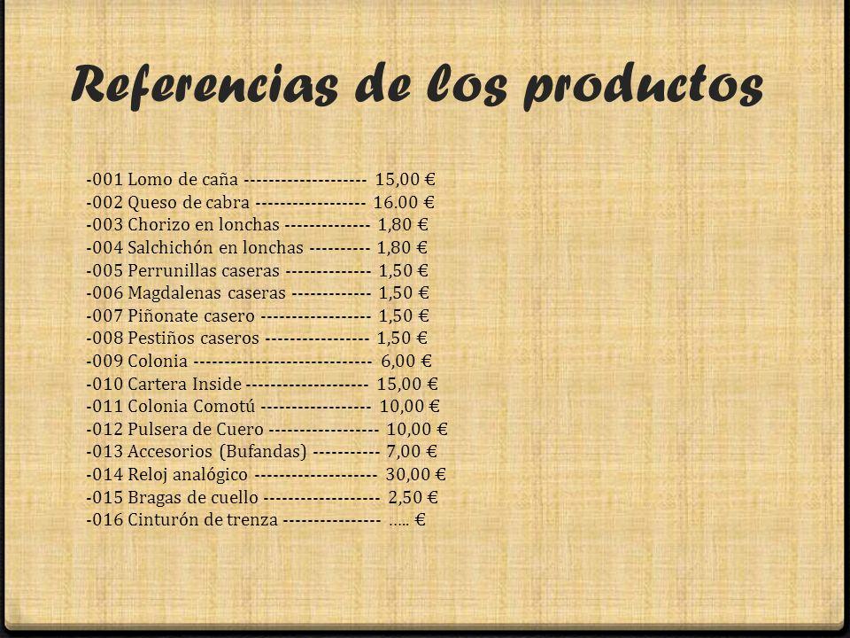 Referencias de los productos