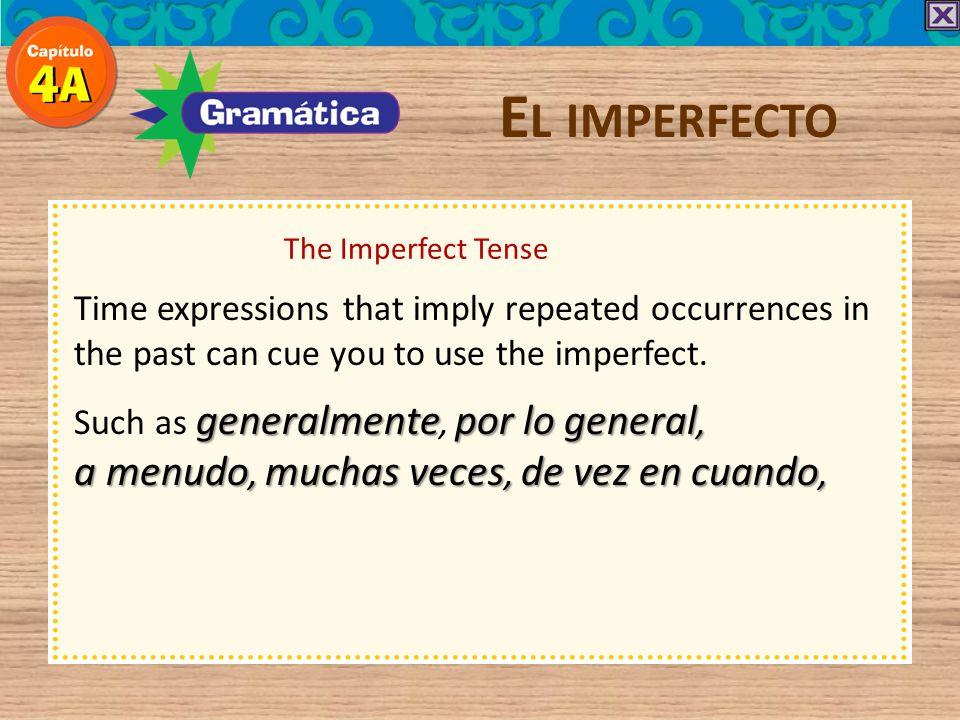 El imperfecto a menudo, muchas veces, de vez en cuando,