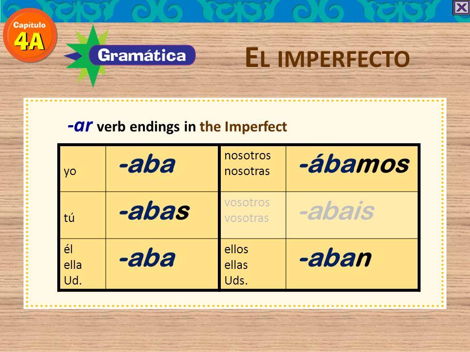 El imperfecto -aba -ábamos -abas -abais -aban