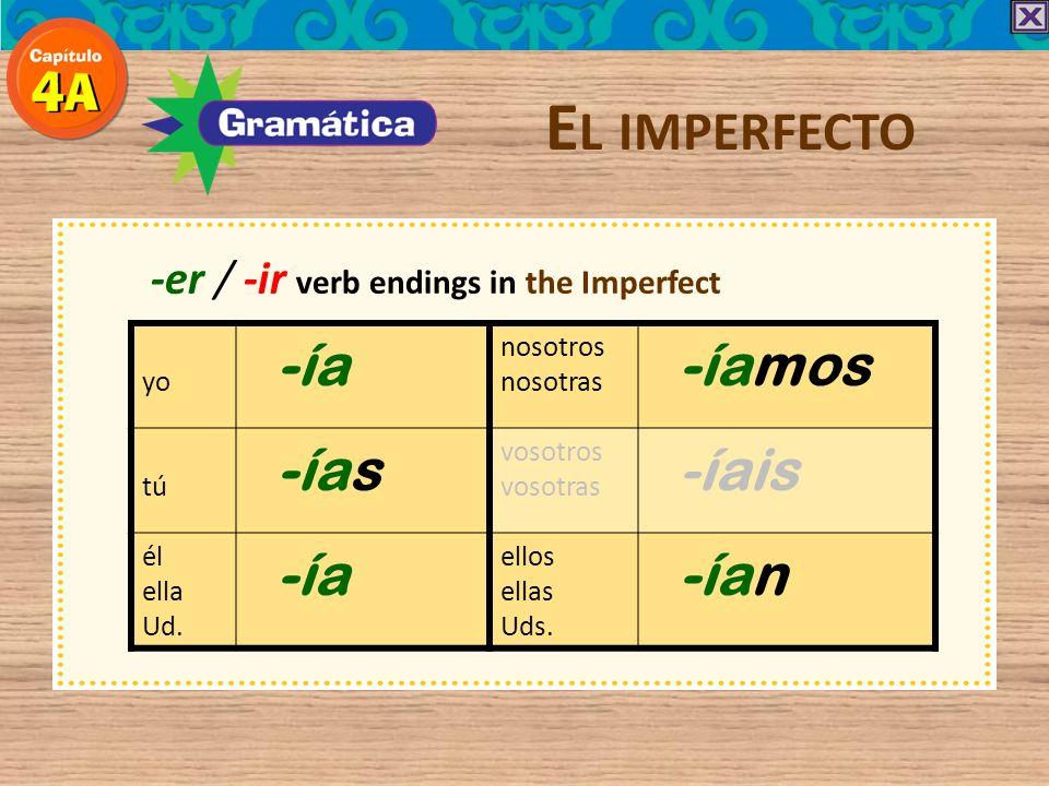 El imperfecto -ía -íamos -ías -íais -ían