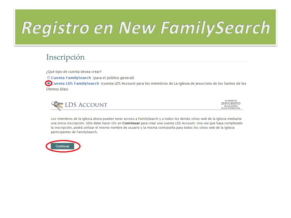 Registro en New FamilySearch