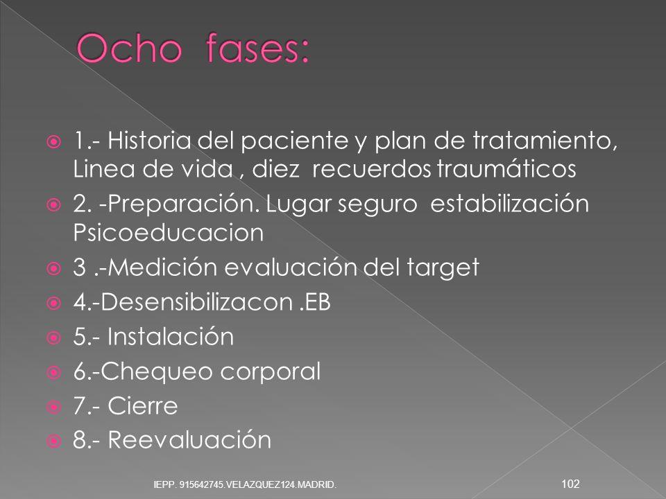 Ocho fases: 1.- Historia del paciente y plan de tratamiento, Linea de vida , diez recuerdos traumáticos.
