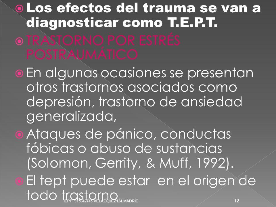 Los efectos del trauma se van a diagnosticar como T.E.P.T.