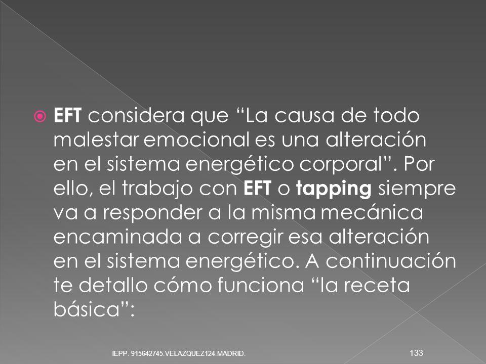 EFT considera que La causa de todo malestar emocional es una alteración en el sistema energético corporal . Por ello, el trabajo con EFT o tapping siempre va a responder a la misma mecánica encaminada a corregir esa alteración en el sistema energético. A continuación te detallo cómo funciona la receta básica :