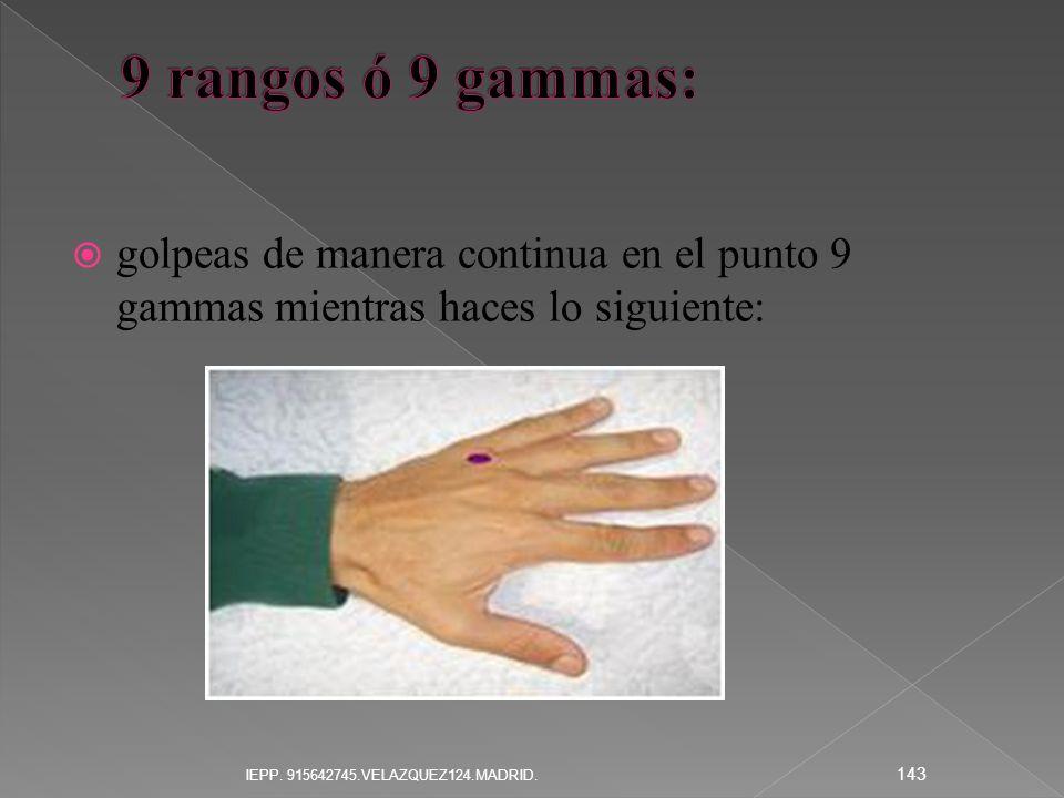 9 rangos ó 9 gammas: golpeas de manera continua en el punto 9 gammas mientras haces lo siguiente: IEPP.
