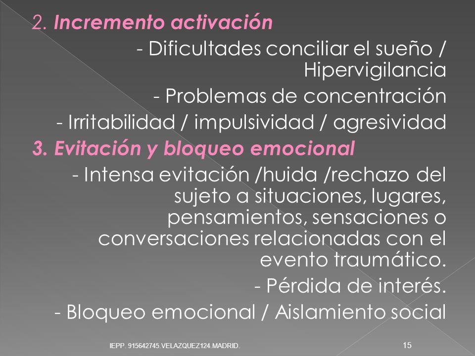 2. Incremento activación - Dificultades conciliar el sueño / Hipervigilancia - Problemas de concentración - Irritabilidad / impulsividad / agresividad 3. Evitación y bloqueo emocional - Intensa evitación /huida /rechazo del sujeto a situaciones, lugares, pensamientos, sensaciones o conversaciones relacionadas con el evento traumático. - Pérdida de interés. - Bloqueo emocional / Aislamiento social