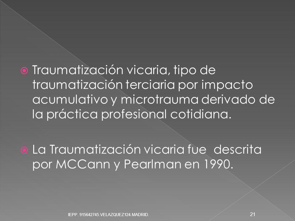La Traumatización vicaria fue descrita por MCCann y Pearlman en 1990.