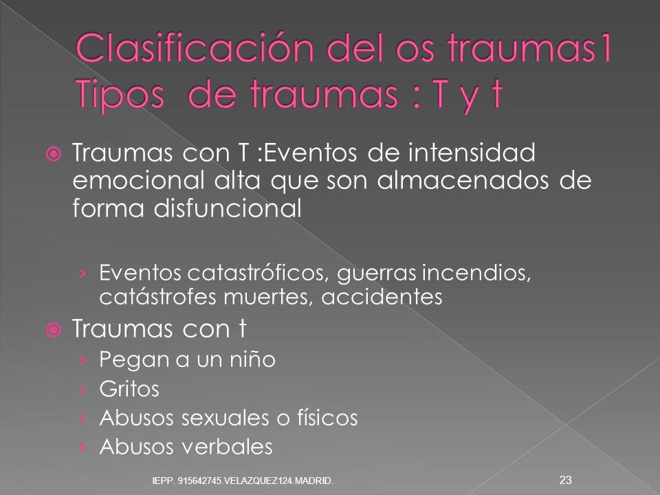 Clasificación del os traumas1 Tipos de traumas : T y t