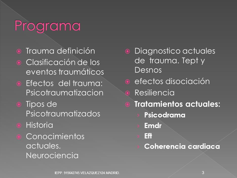 Programa Trauma definición Clasificación de los eventos traumáticos
