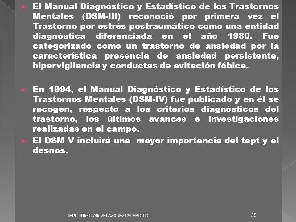 El DSM V incluirá una mayor importancia del tept y el desnos.