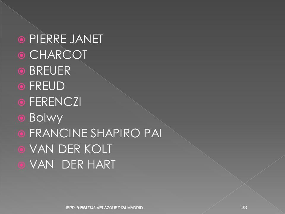 PIERRE JANET CHARCOT BREUER FREUD FERENCZI Bolwy FRANCINE SHAPIRO PAI