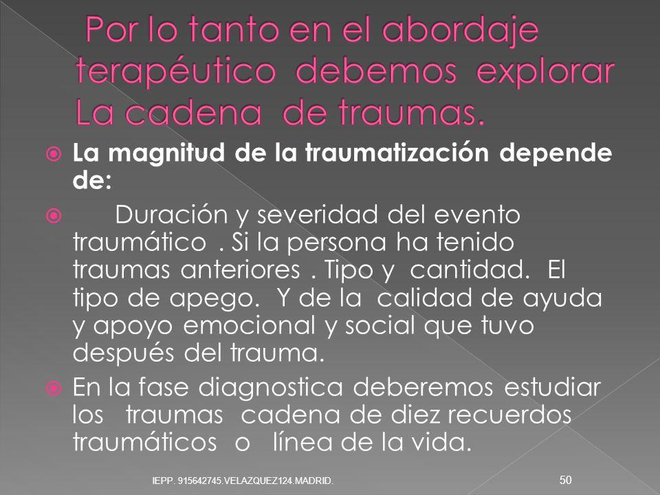 Por lo tanto en el abordaje terapéutico debemos explorar La cadena de traumas.