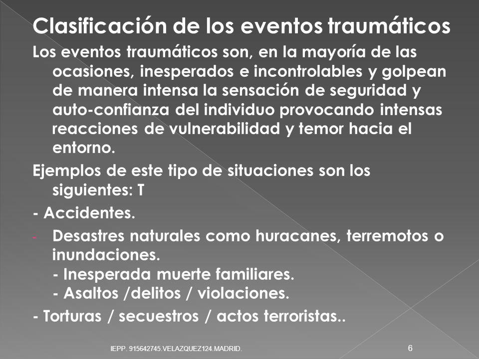 Clasificación de los eventos traumáticos