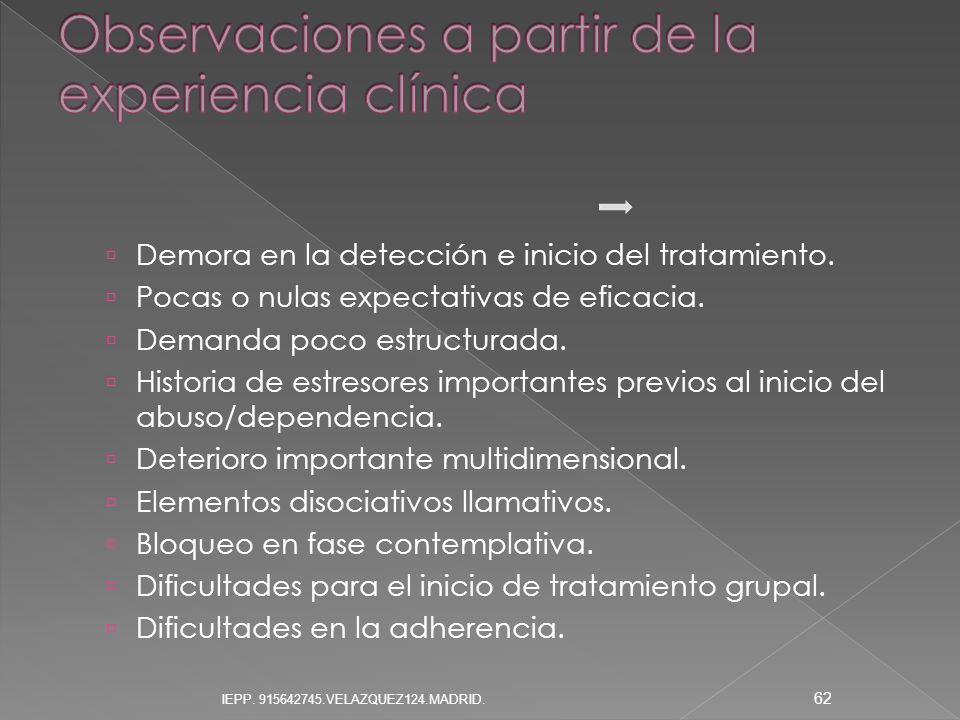 Observaciones a partir de la experiencia clínica