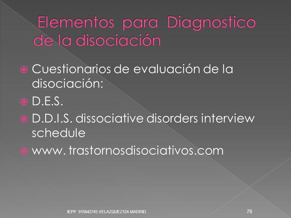 Elementos para Diagnostico de la disociación