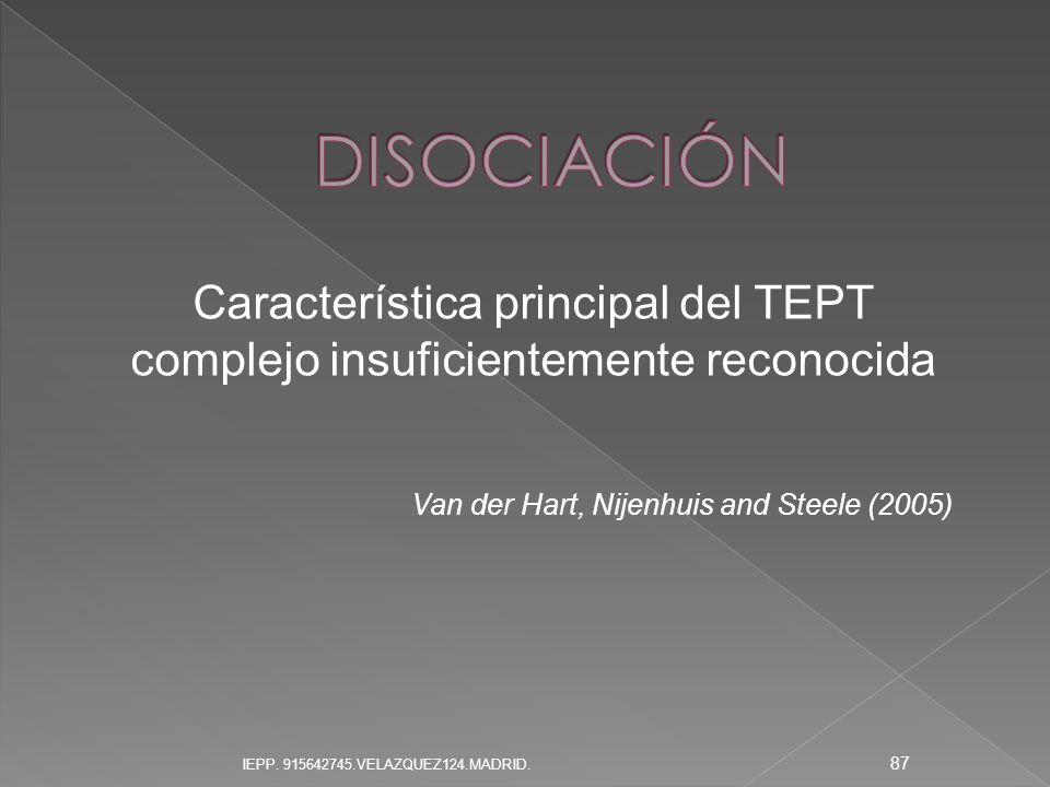 DISOCIACIÓN Característica principal del TEPT complejo insuficientemente reconocida. Van der Hart, Nijenhuis and Steele (2005)