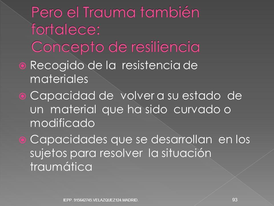 Pero el Trauma también fortalece: Concepto de resiliencia