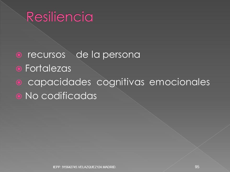 Resiliencia recursos de la persona Fortalezas