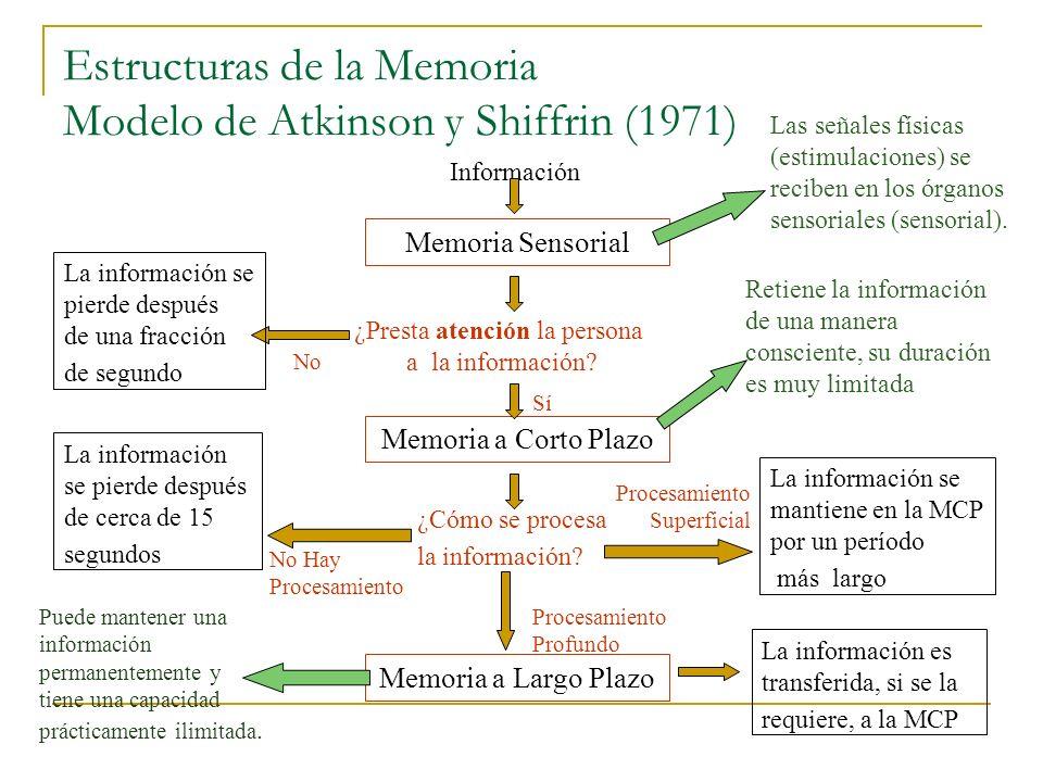 Estructuras de la Memoria Modelo de Atkinson y Shiffrin (1971)