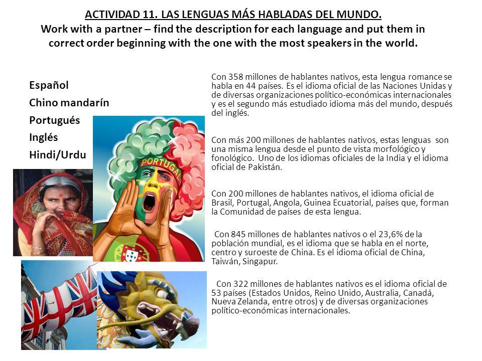 ACTIVIDAD 11. LAS LENGUAS MÁS HABLADAS DEL MUNDO