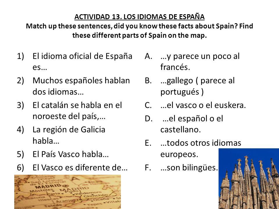 El idioma oficial de España es… Muchos españoles hablan dos idiomas…
