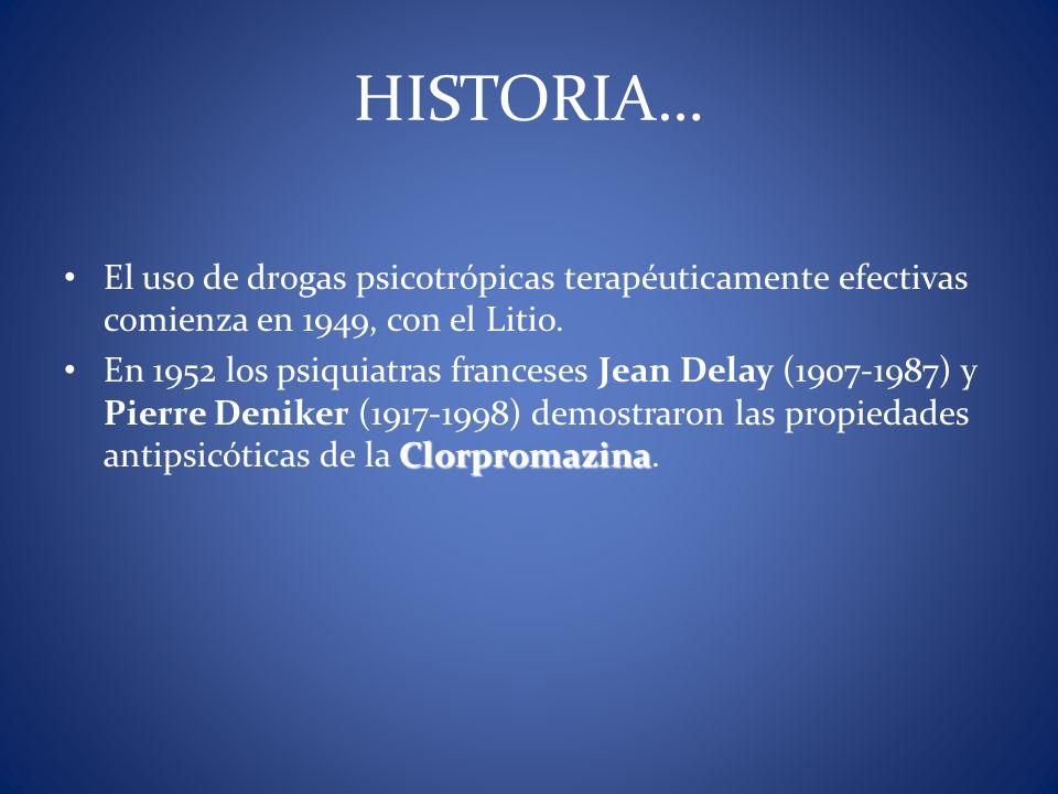 HISTORIA… El uso de drogas psicotrópicas terapéuticamente efectivas comienza en 1949, con el Litio.