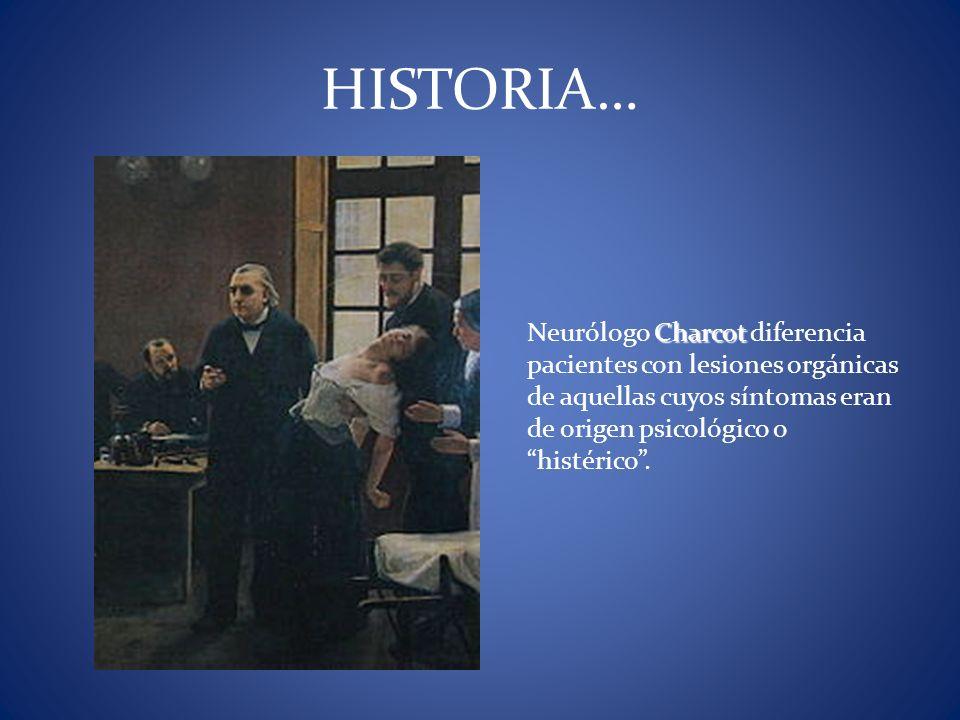 HISTORIA… Neurólogo Charcot diferencia pacientes con lesiones orgánicas de aquellas cuyos síntomas eran de origen psicológico o histérico .