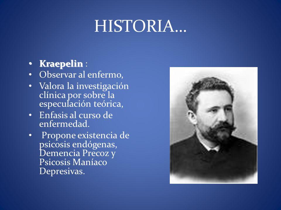 HISTORIA… Kraepelin : Observar al enfermo,