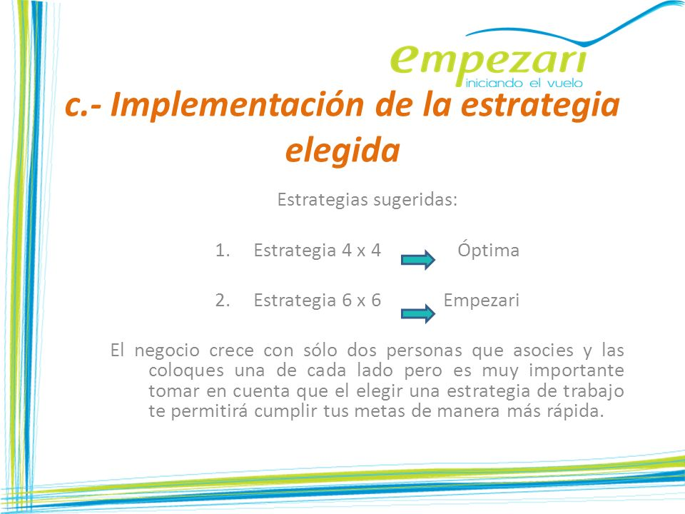 c.- Implementación de la estrategia elegida