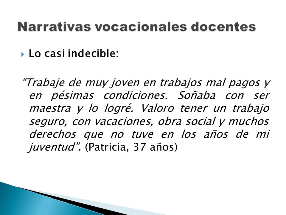 Narrativas vocacionales docentes