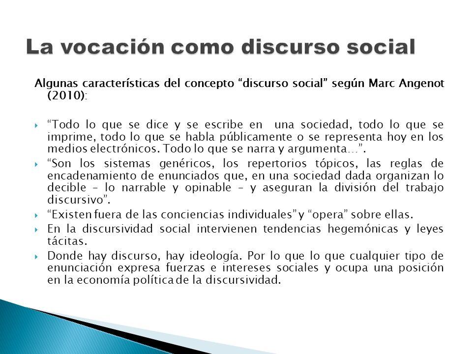 La vocación como discurso social