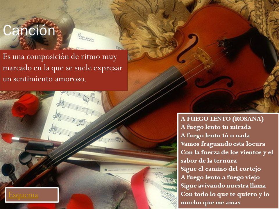 CanciónEs una composición de ritmo muy marcado en la que se suele expresar un sentimiento amoroso.