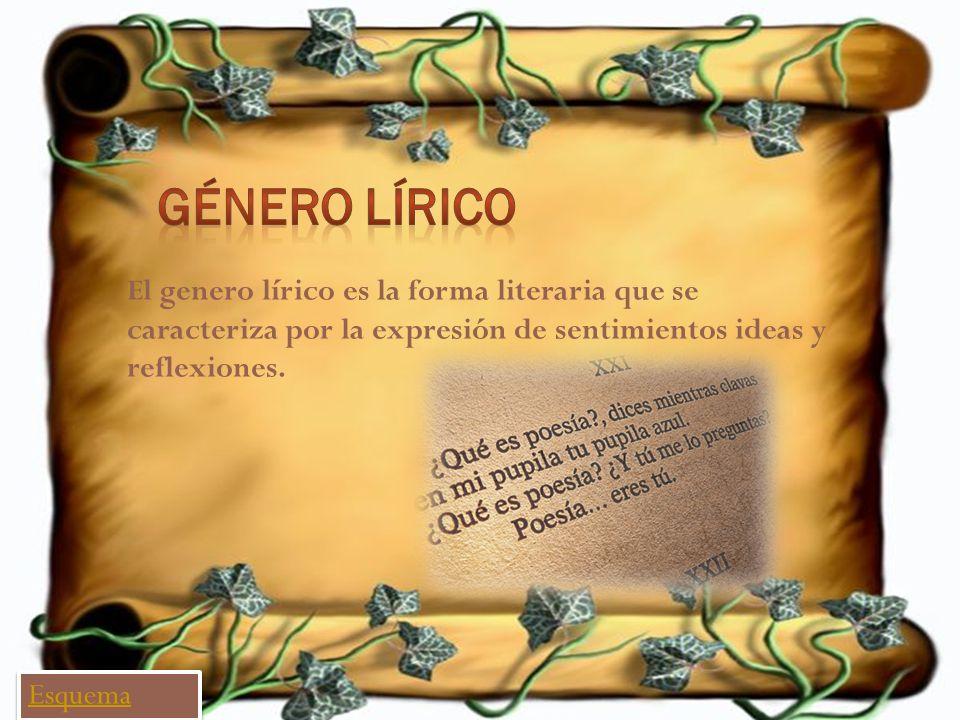Género Lírico El genero lírico es la forma literaria que se caracteriza por la expresión de sentimientos ideas y reflexiones.