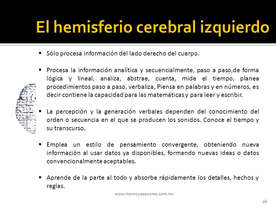 El hemisferio cerebral izquierdo