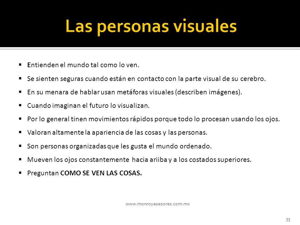 Las personas visuales Entienden el mundo tal como lo ven.