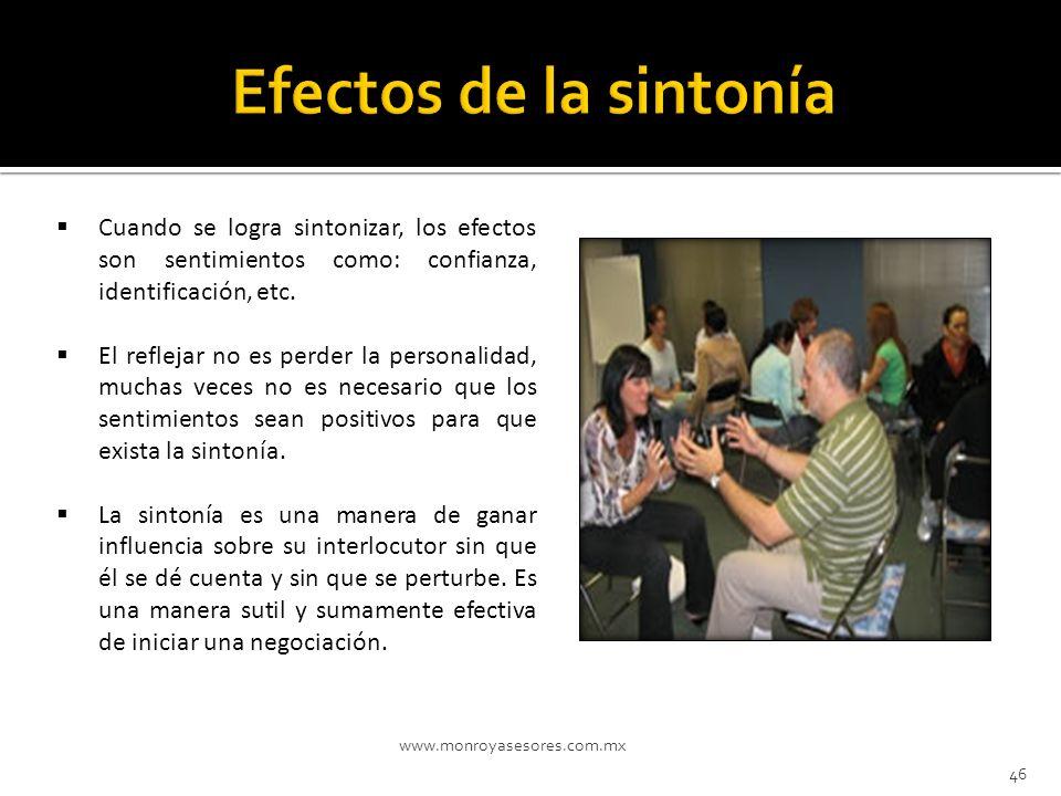 Efectos de la sintonía Cuando se logra sintonizar, los efectos son sentimientos como: confianza, identificación, etc.