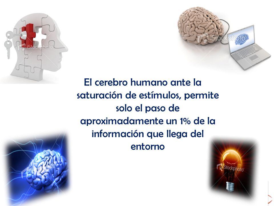 El cerebro humano ante la saturación de estímulos, permite solo el paso de aproximadamente un 1% de la información que llega del entorno
