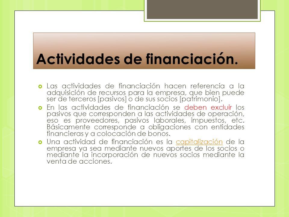 Actividades de financiación.