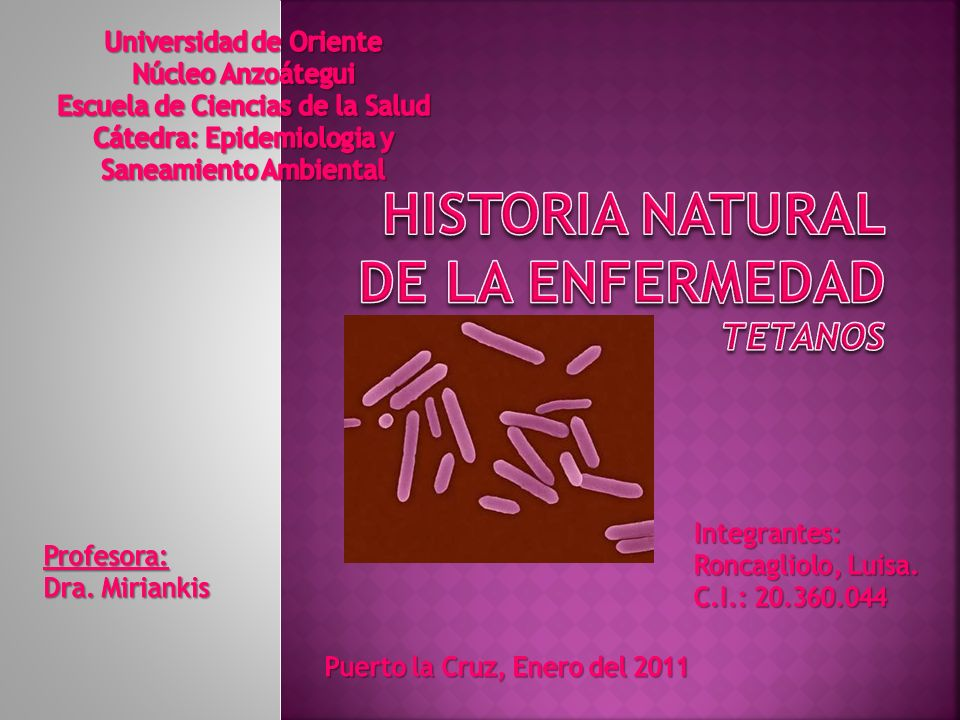 Historia Natural de la Enfermedad TETANOS