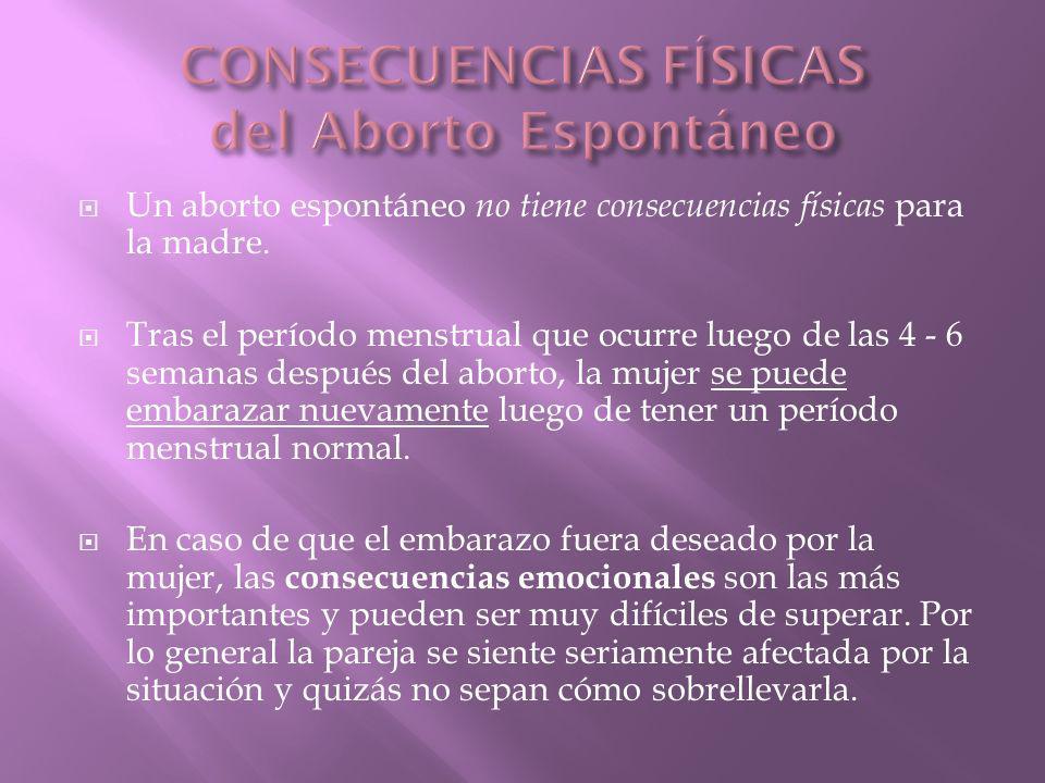 CONSECUENCIAS FÍSICAS del Aborto Espontáneo