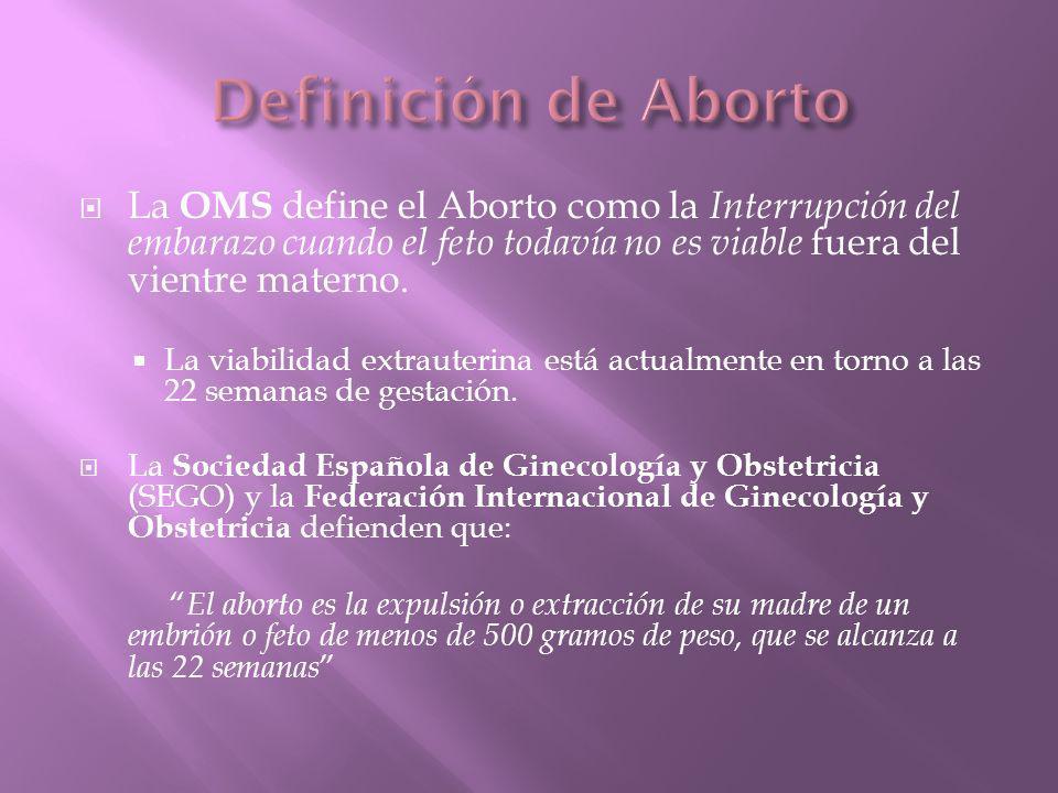 Definición de Aborto La OMS define el Aborto como la Interrupción del embarazo cuando el feto todavía no es viable fuera del vientre materno.